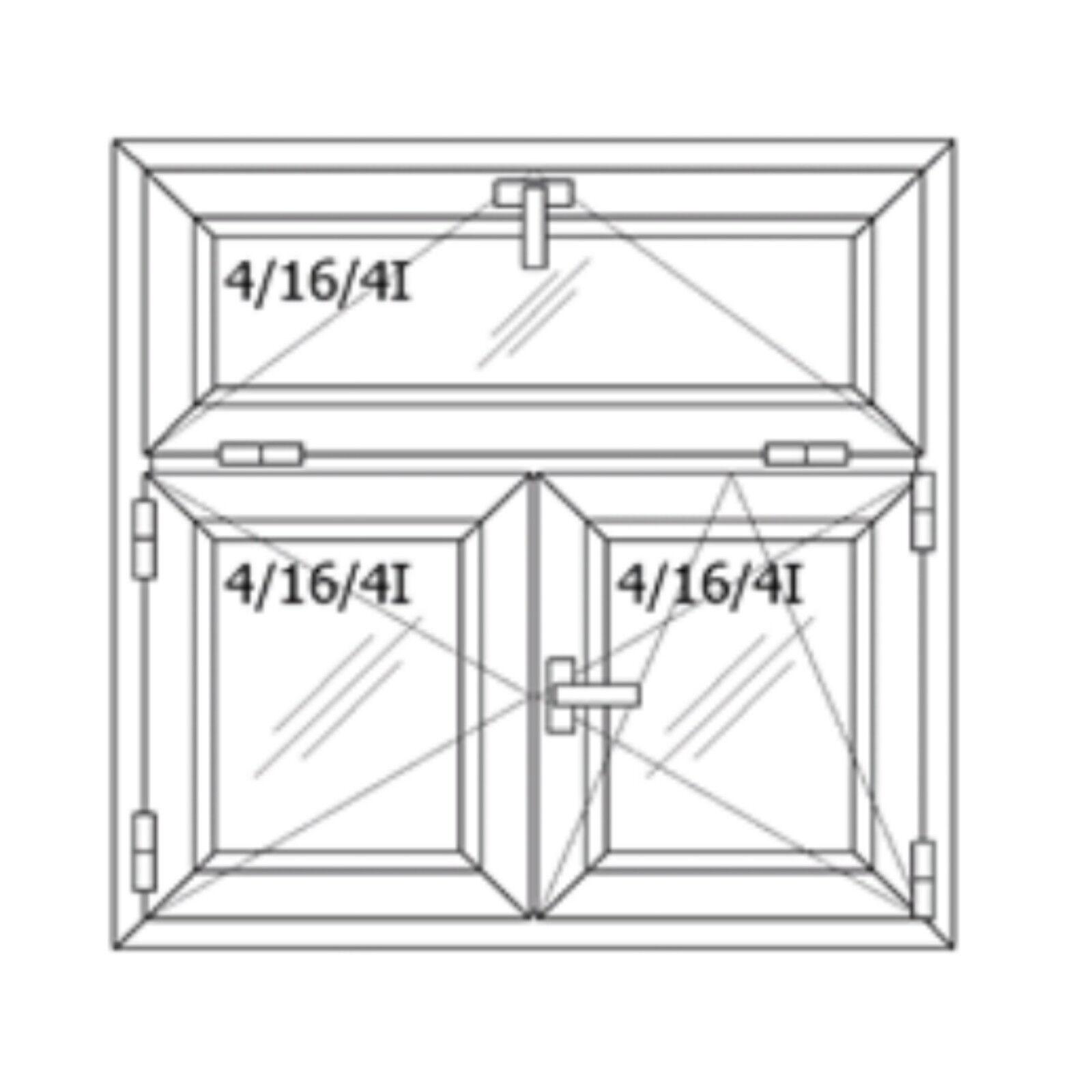 Kunststofffenster Fenster Stulp Oberlicht mit Kippfunktion 2-flügelig 2-Fach NEU
