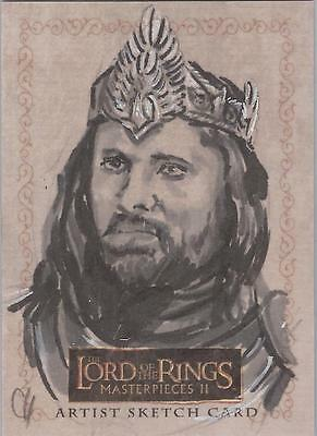 """Lord of the Rings Masterpieces II - Chris Henderson """"King Elessar"""" Sketch Card"""