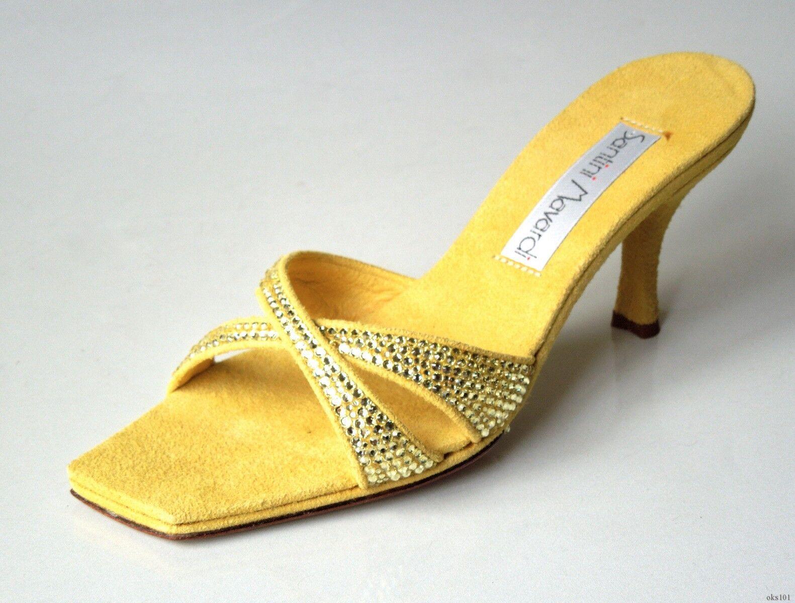 Nuevo Nuevo Nuevo Santini mavardi Miami 'Linda' Amarillo Enjoyado Mulas Zapatos 8-Elegante  mas barato