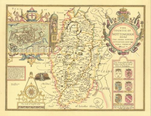 Nottinghamshire Nottingham Printed Full Size Replica Old map1610 UNIQUE GIFT