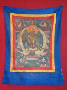 Antik-Original-Thangka-Thanka-Asien-Tibet-handbemalt