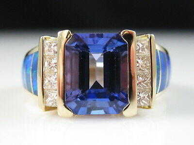 14K Tanzanite Diamond Ring KABANA Inlay Opal Yellow Gold Fine Jewelry Size 5