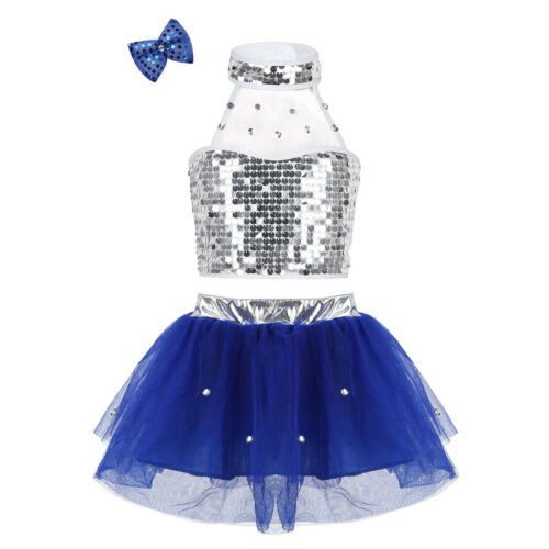 Girls Jazz Hip Hop Dance Dress Sequins Kids Ballet Performance Dancewear Outfit