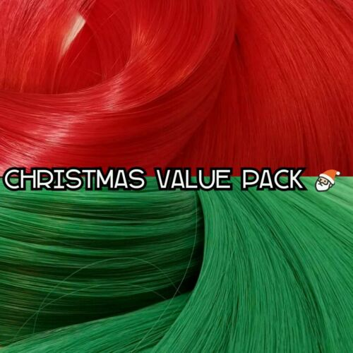 Christmas Red /& Green XL 4oz 2 Color Value Pack Nylon Hair to Reroot Doll Pony