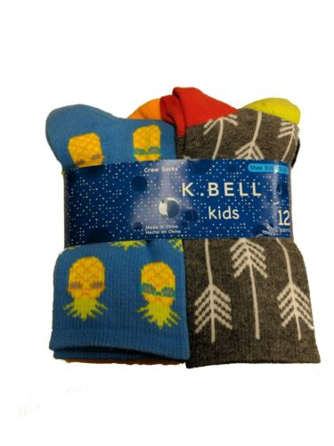 K Bell Boys 12 pair Crew Socks AZ Blue Assortment