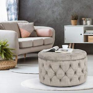 Mid-Century-Button-Tufted-Round-Velvet-Ottoman-Storage-Coffee-Table-Wood-Frame