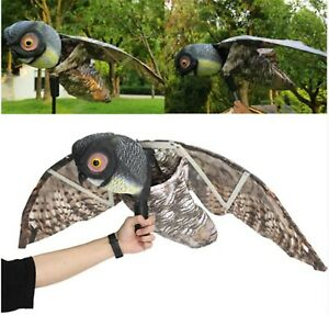 Full House Natural Scarecrow Fake Owl Pest Deterrent with Moving Wings - Scar...