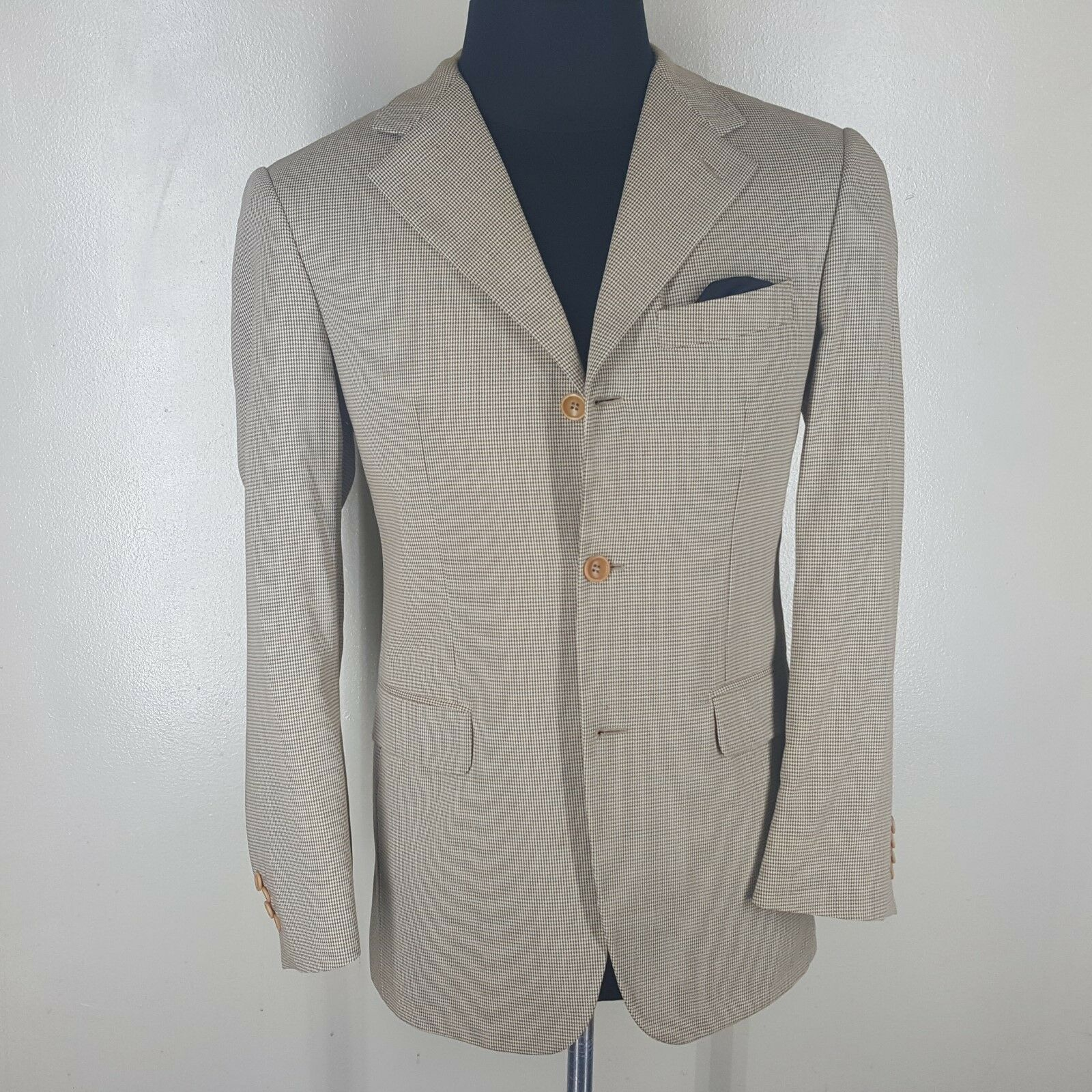 EREDI PISANO Sport Coat  3 Btn Side Vents  100% Lgold Piana Wool 38R Fit 40R-42 R