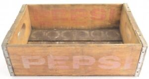 Pepsi-Cola-Crate-Wood-Grain-Carrier-Signer-Collectible-Vintage-Advertising-Case