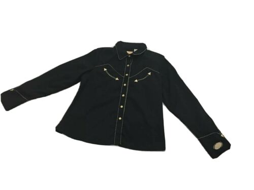 Scully Women's Small Western Pearl Snap Shirt Acad