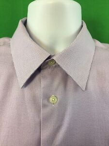 Pronto-Uomo-Non-Iron-Modern-Fit-Button-Shirt-Mens-Sz-16-34-35-Purple-French-Cuff