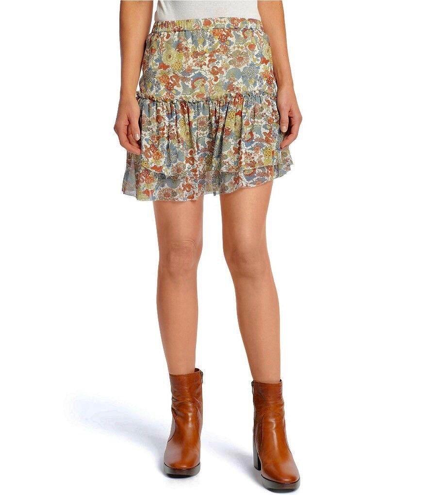 NWT Frye Magdalena Silk Ruffle Floral Print Mini Skirt, XS, Cream, FREE Shipping