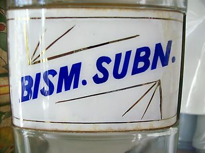 Collectible-Rare-Glass-Label-Apothecary-Bottle-1800-Bismuth Subnitrate-RARE