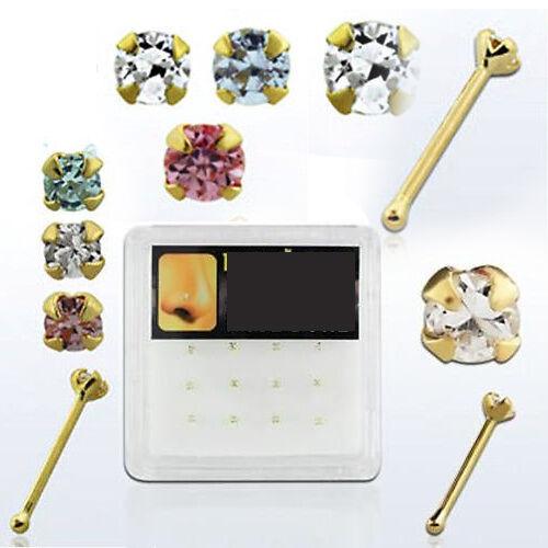14K Yellow Gold Nose Bones w// Rounded CZ Crystal Gem Nostril Studs 22G Piercing