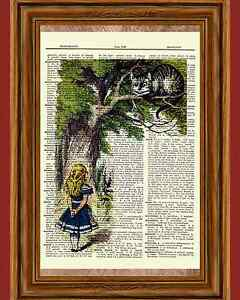 Alice-in-Wonderland-Cheshire-Cat-Dictionary-Art-Print-Book-Page-Picture-Poster