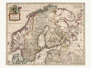 Old Antique Decorative Map of Sweden Norway de Wit ca. 1682