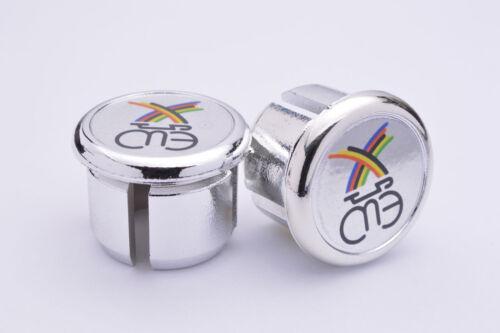 Eddy Merckx Silver Handlebar End Plugs Bar End Caps endcaps vintage New chrome