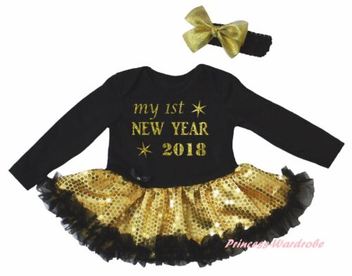 Black L//S Bodysuit My 1ST New Year 2018 Gold Bling Sequins Girl Baby Dress 0-18M