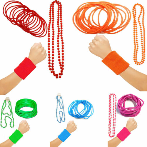 90/'s UV Toweling Wrist Band Gummy Fancy Bangles And Bead Necklace