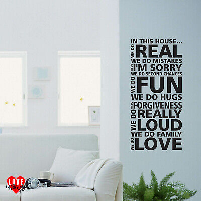 In This House We Do Love Quote Block Letter Style Vinyl Wall Art Sticker Ebay