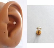 Gold Titanium Clear Crystal Conch Stud Barbell Post 16 gauge 16g