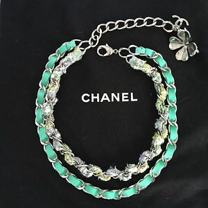1a202659230af Details about AUTH CHANEL Green Silver Hardware Suede Tweed Double Chain  Clover CC necklace