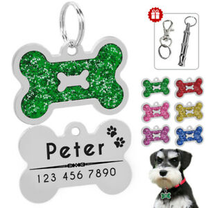 Bone-Glitter-Personalised-Dog-Tags-Custom-Disc-Pet-Name-Collar-ID-Tag-Engraved