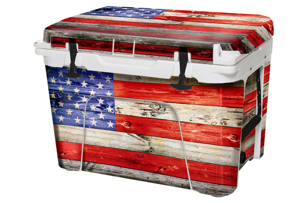 USATuff Wrap Decal Full Kit fits Custom YETI Tundra 45qt Cooler USA Flag WD Clr