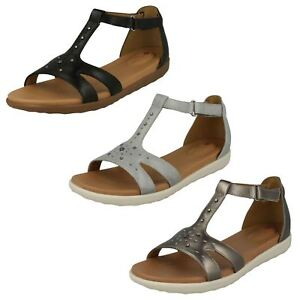 Image is loading LADIES-CLARKS-UNSTRUCTURED-LEATHER-OPEN-TOE-RIPTAPE-SANDALS -