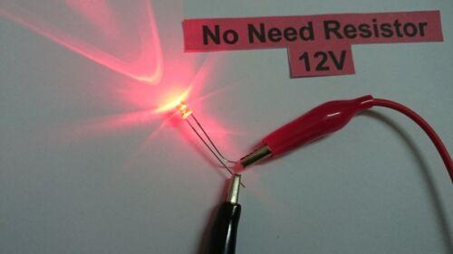 25pcs 12V Scale Train Layout 3mm Dia LED Bulb Red light