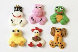 24 x Edible Sugar Mini Farm Animals Cupcake Cake Toppers Party Theme Cake