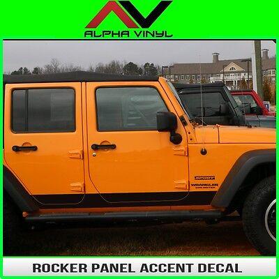 Rocker Panel Accent Decal Fits: 4 door Jeep Wrangler JK 07-18 Matte Black