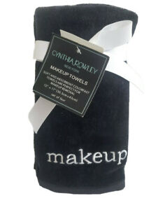 Cynthia Rowley Navy Blue Makeup Towels Soft Absorbent Cotton Embroidered Set//4