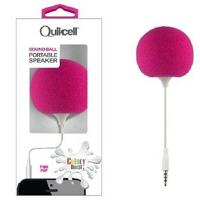 Quikcell Color Burst Sound Ball Portable Speaker with Flexible Cord - Pink - New