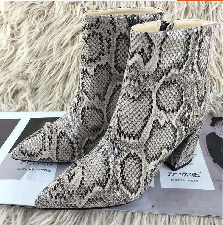 Fashion Ladies High Top Back Zip Ankle Boots Poinetd Toes Shoes Snakeskin Pumps