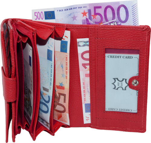 PoCo DeSiGn° LAGENLOOK Damen Rindleder Geldbörse Portemonnaie Geldbeutel rot