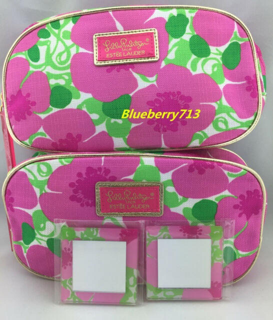2 Bags Lilly Pulitzer Estee Lauder Fl Cosmetic Makeup Bag With Mirror