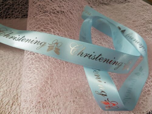 Club Green CHRISTENING Baby Pink /& Blue silver wording /& Booties 20mm ribbon
