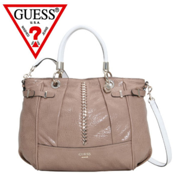 NWT Guess $138 Abbey Ray Satchel Handbag Purse Tan Beige White w/ chain detail