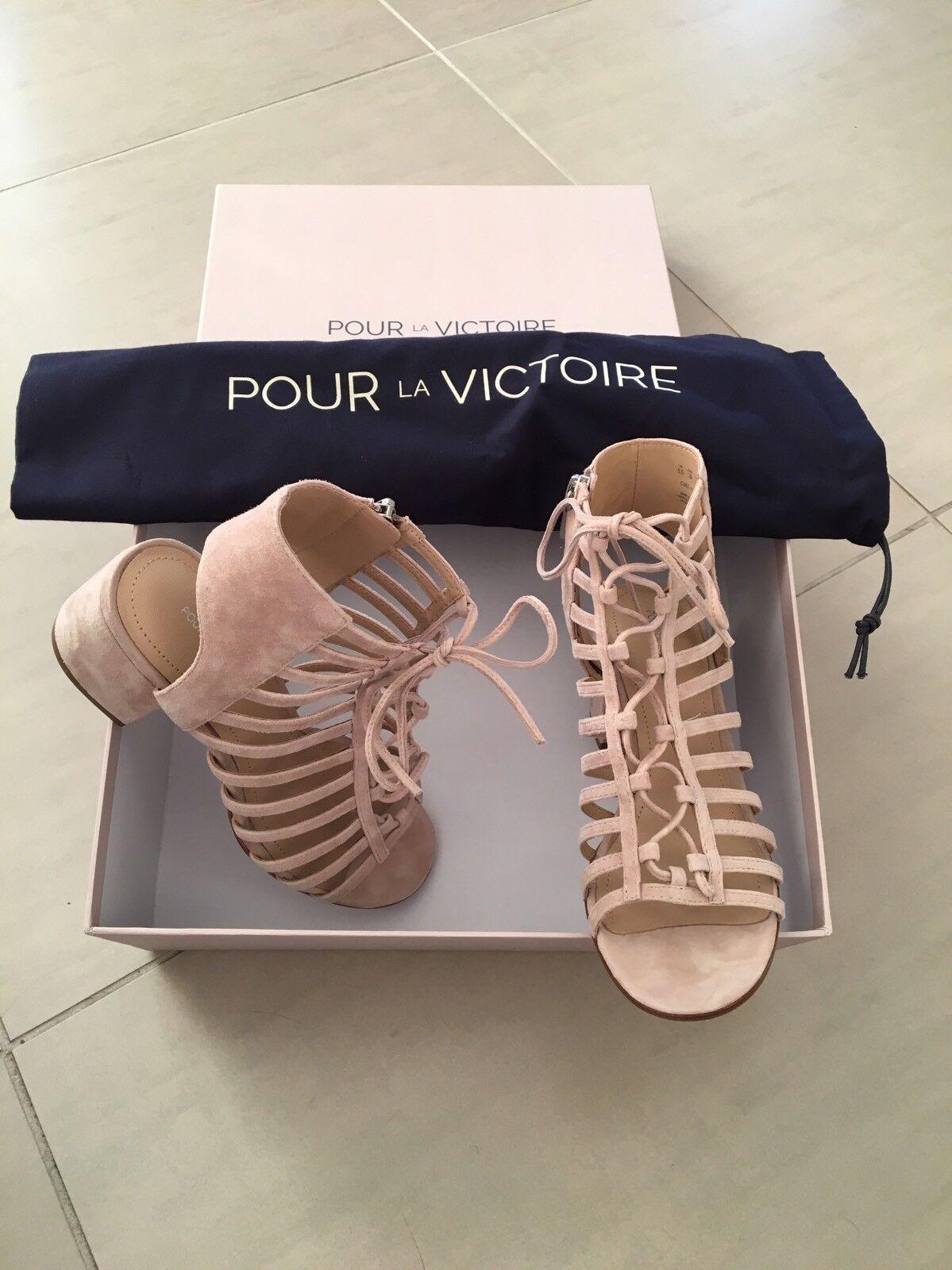 NWT/NIB Pour la Victoire Amabelle Suede Heel Sandals - Size 5.5M - Retail @  275