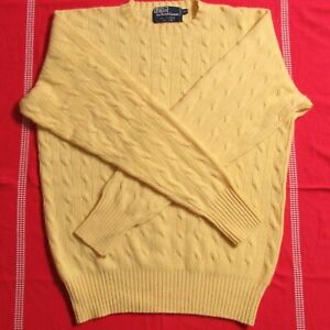 Polo Ralph Lauren Uk 40 Mens L Cashmere Yellow Cable Knit Crew Neck Sweater Ebay