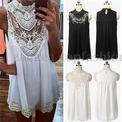 Summer Women Chiffon Lace Crochet Tank Tops T Shirts Short Mini Dress Sundress