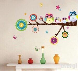Vogel-Eule-Natur-Tier-Kinder-Wandsticker-Wandtattoo-Aufkleber-Wohnzimmer-Sticker