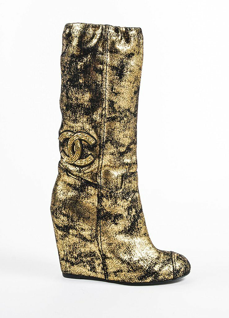 NEW CHANEL METALLIC GOLD BLACK Jeweled SHOES WEDGE BOOTS 35 37.5 39 40.5