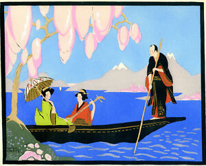 1930s-French-Pochoir-Colored-Print-Chapuis-Asian-Boats-Monk-Geisha-Cherry-Tree
