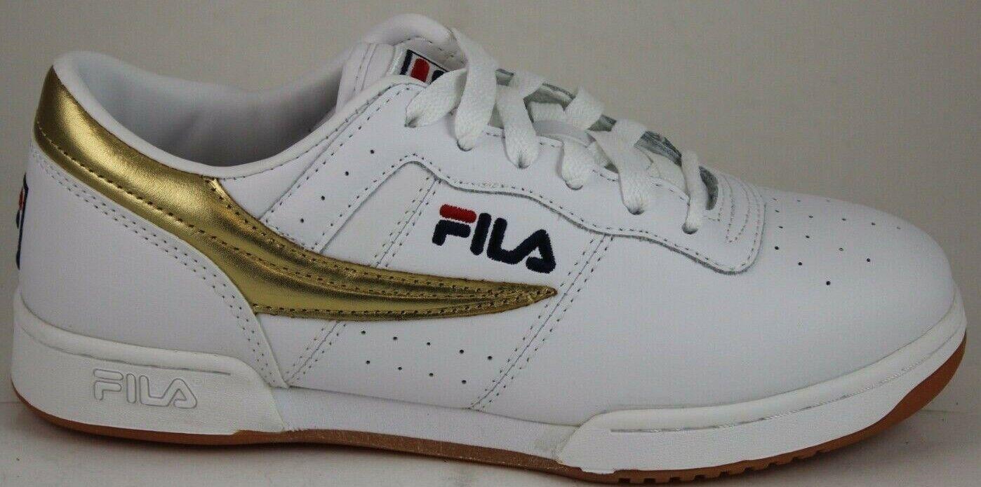 Herren Fila Retro Heritage Original Fitness Weiß Gold 1VF80138-136 Brandneu