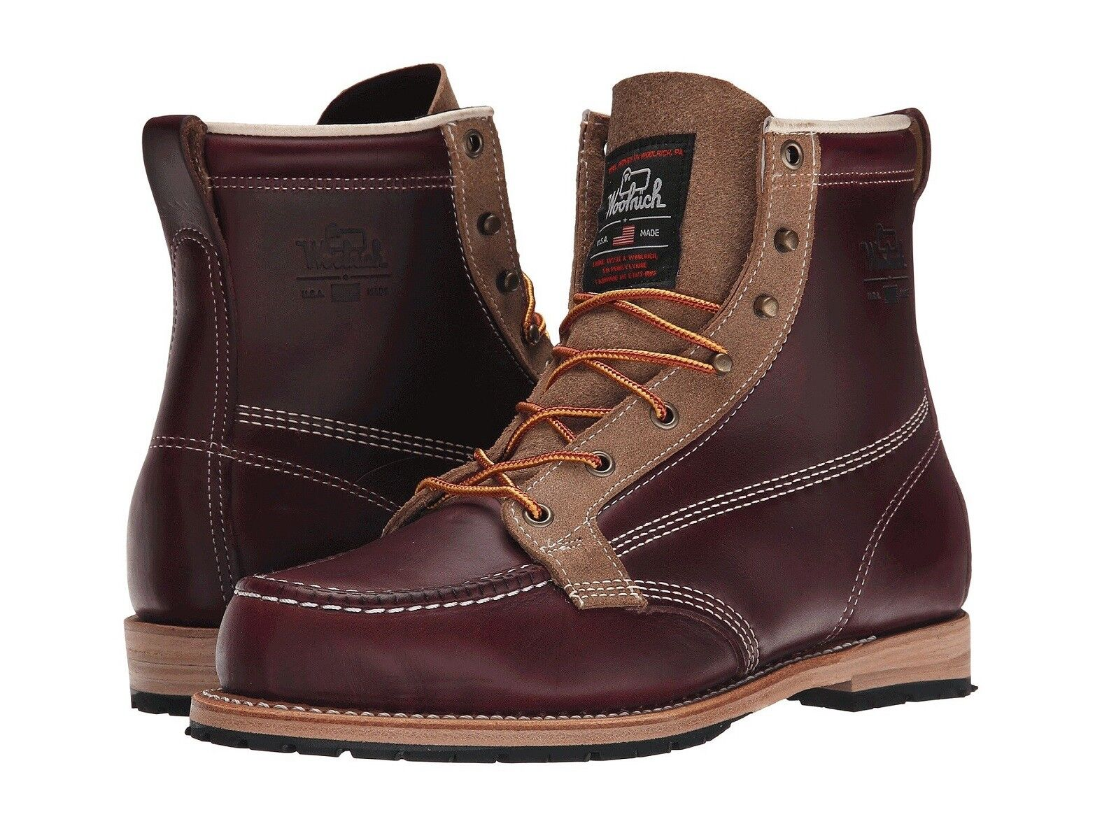 WOOLRICH Woodsman Horween Uomo 6 in Pelle  Vibram Stivali prodotto in USA NUOVO