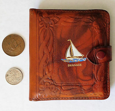 Embossed leather cigarette case vintage Art Deco Swanage yacht sailing boat