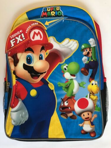 "Backpack 16/"" Super Mario Multi-Compartment Reflective Strips Play Theme Song NWT"