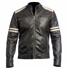 NEW MEN'S LEATHER JACKET NERO Slim Fit Stile Biker Vintage MOTO CAFE RACER